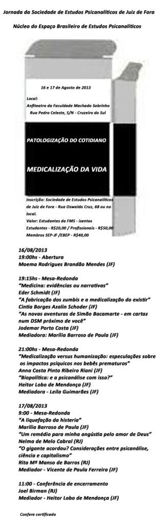 Iª Jornada Sociedade de Estudos Psicanalíticos de Juiz de ForaNùcleo Espaço Brasileiro de Estudos Psicanalíticos
